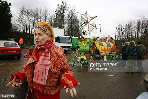 British fashion designer Vivienne Westwood speaks to the media on March 24 2008 before a protest at an atomic weapons center in Aldermaston Berkshire...