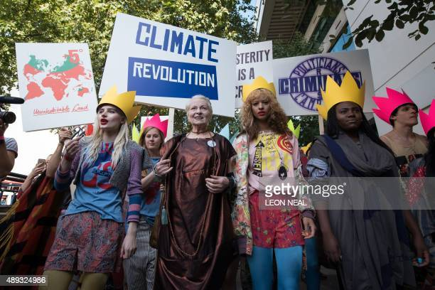 British fashion designer Vivienne Westwood takes part in a demonstration ahead of her show during the Spring / Summer 2016 London Fashion Week in...