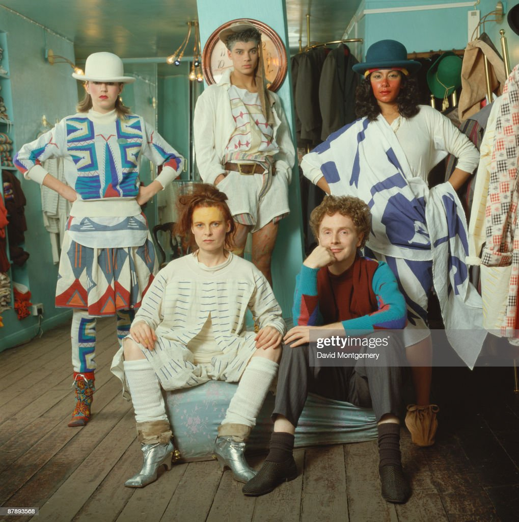 British fashion designer Vivienne Westwood with her partner, music manager Malcolm McLaren, at her shop on the King's Road, London, circa 1985.