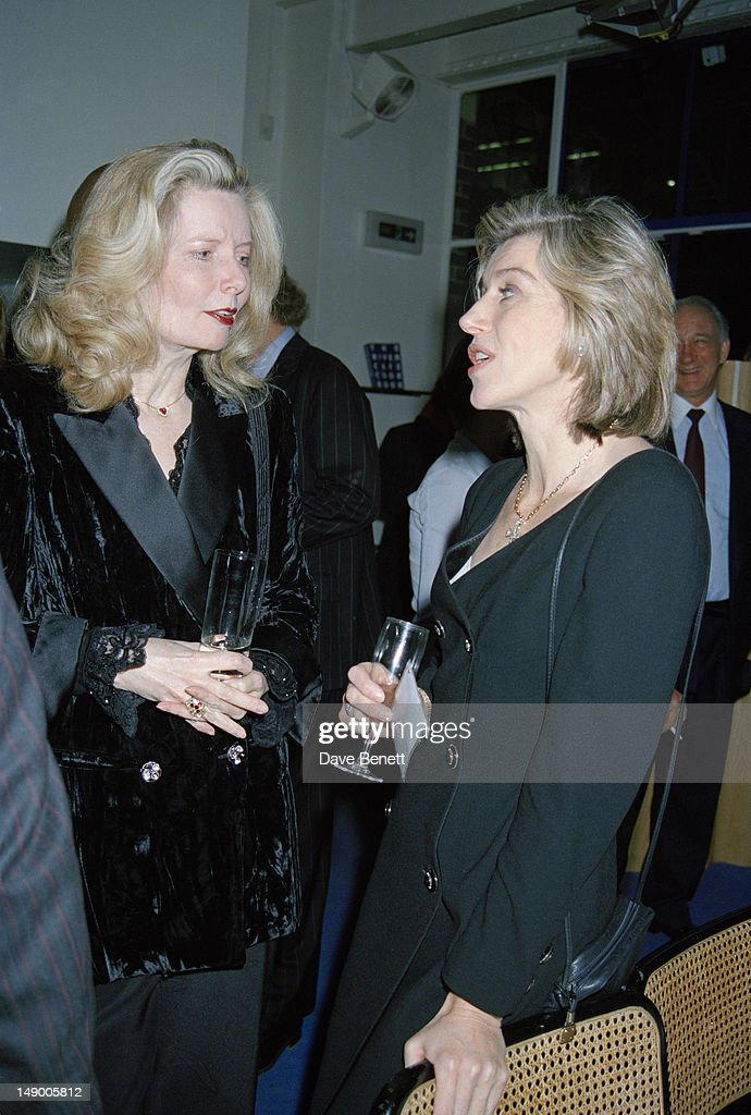 British fashion designer Vivienne Westwood with newsreader and journalist Selina Scott at a party given by Vanity Fair magazine at the River Cafe...