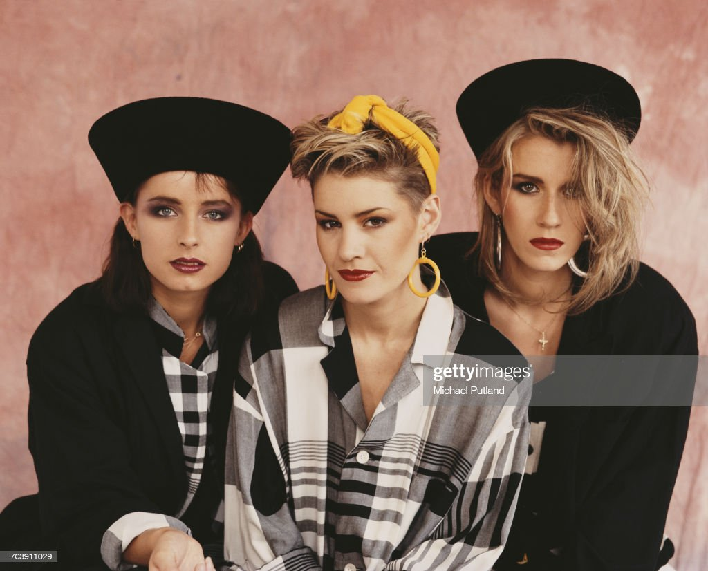 British female pop vocal group, Bananarama, London September 1984. Left to right: Keren Woodward, Siobhan Fahey and Sara Dallin.