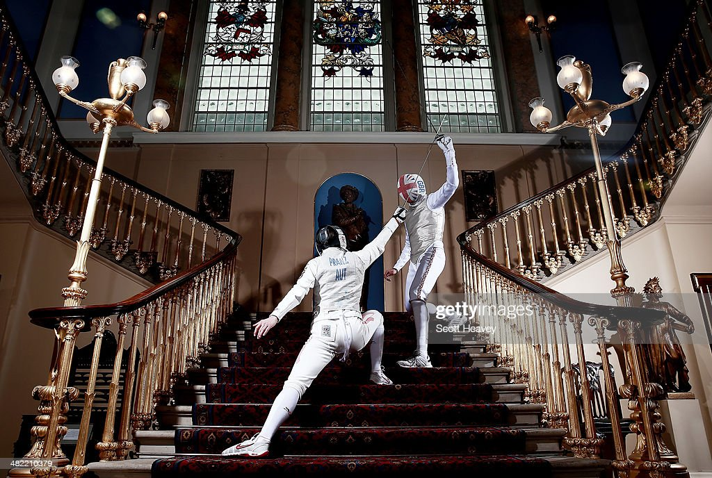 British Fencer James Davis and Austrian Fencer Rene Pranz ahead of the Beazley International Fencing Challenge match between Great Britain and Austria men's foil teams at Fishmongers Hall on April 3, 2014 in London, England.