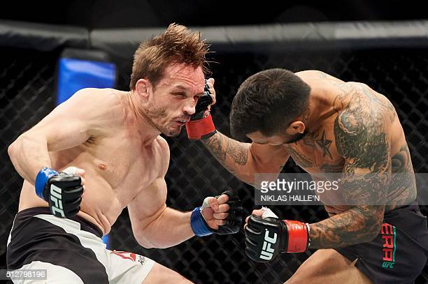 British fighter Brad Pickett competes against US fighter Francisco Rivera during their Bantamweight bout at the Ultimate Fighting Championship Fight...