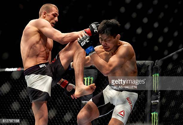 British fighter Tom Breese competes against Keita Nakamura of Japan in their Welterweight bout at the Ultimate Fighting Championship Fight Night...
