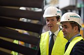 British finance minister Chancellor of the Exchequer George Osborne and Chief Executive of Siemens plc United Kingdom Juergen Maier visit a...