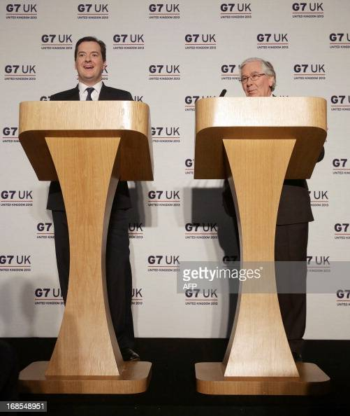 British Finance Minister George Osborne and Governor of the Bank of England Mervyn King hold a press conference following the G7 finance ministers...