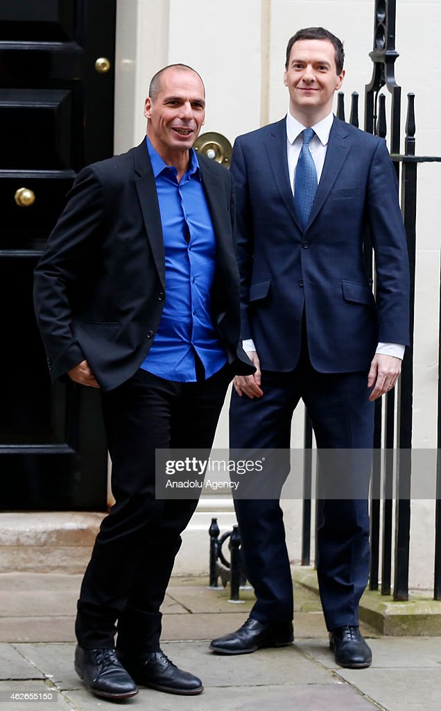 British Finance Minister George Osborne (R) bids farewell to Greece's new finance minister Yanis Varoufakis (L) after their meeting at number 11 Downing Street in central London on February 2, 2015.