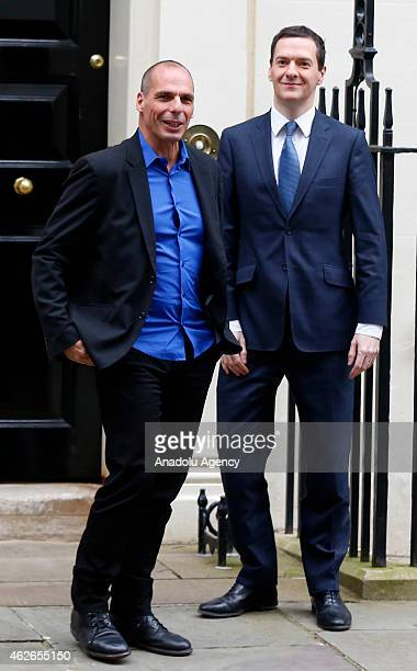British Finance Minister George Osborne bids farewell to Greece's new finance minister Yanis Varoufakis after their meeting at number 11 Downing...