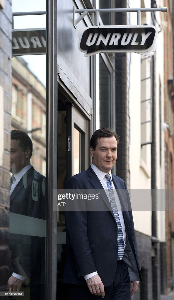 British finance minister George Osbornes leaves Unruly Media, an East London tech company, following a visit in London on April 25, 2013. Britain avoided falling into a third recession since the 2008 global financial crisis after its economy grew by a better-than-expected 0.3 percent in the first quarter compared with the final three months of last year, official data showed.