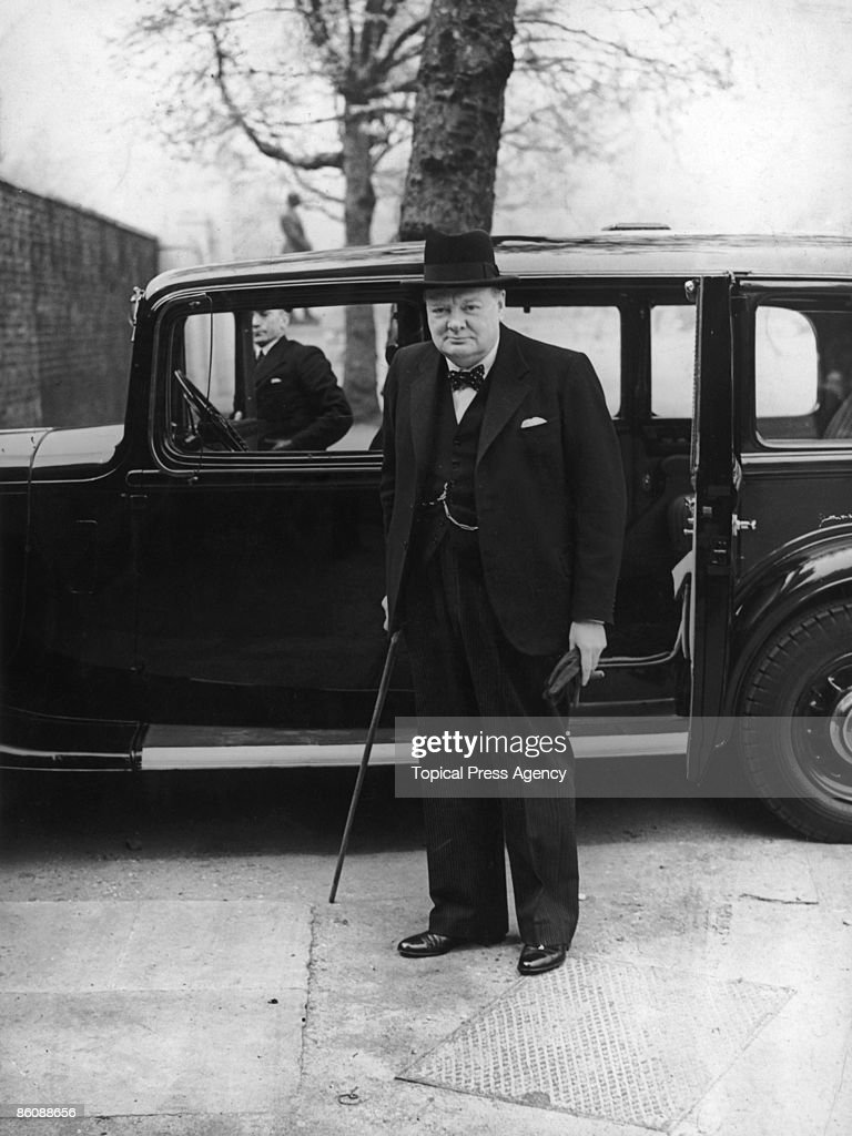 British First Lord of the Admiralty <a gi-track='captionPersonalityLinkClicked' href=/galleries/search?phrase=Winston+Churchill+-+Prime+Minister&family=editorial&specificpeople=92991 ng-click='$event.stopPropagation()'>Winston Churchill</a> (1874 - 1965, on his way to a meeting with British Prime Minister Neville Chamberlain, May 1940.
