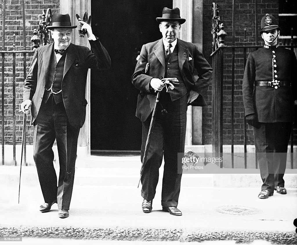 British First Lord of the Admiralty <a gi-track='captionPersonalityLinkClicked' href=/galleries/search?phrase=Winston+Churchill+-+Prime+Minister&family=editorial&specificpeople=92991 ng-click='$event.stopPropagation()'>Winston Churchill</a> (1874 - 1965) and Home Secretary Sir John Anderson (1882 - 1958) leave 10 Downing Street, London, after a War Council meeting, 8th May 1940. Churchill took over from Prime Minister Neville Chamberlain two days later.
