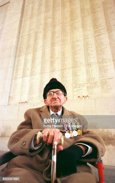 British First World War veteran William Cotgrove from Chelmsford Essex sits in front of some of the 55000 names of soldiers whose remains were never...