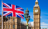British flag, Big Ben, Houses of Parliament and British flag composition
