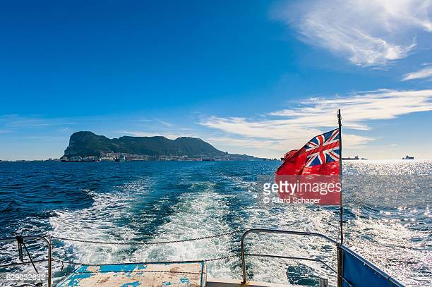 British Flag on Boat with Gibraltar in the Distance