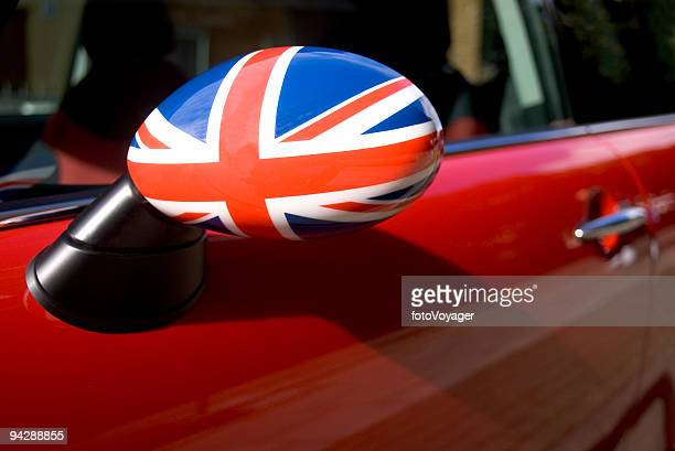 British flag on car wing mirror