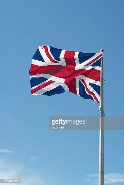 British flag with blue sky in background