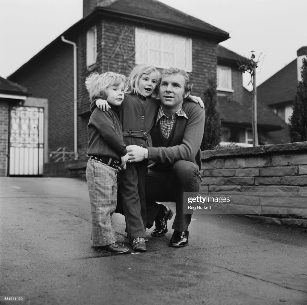 British football player Bobby Moore (1941 - 1993) with his two children Roberta and Dean, UK, 11th January1971.