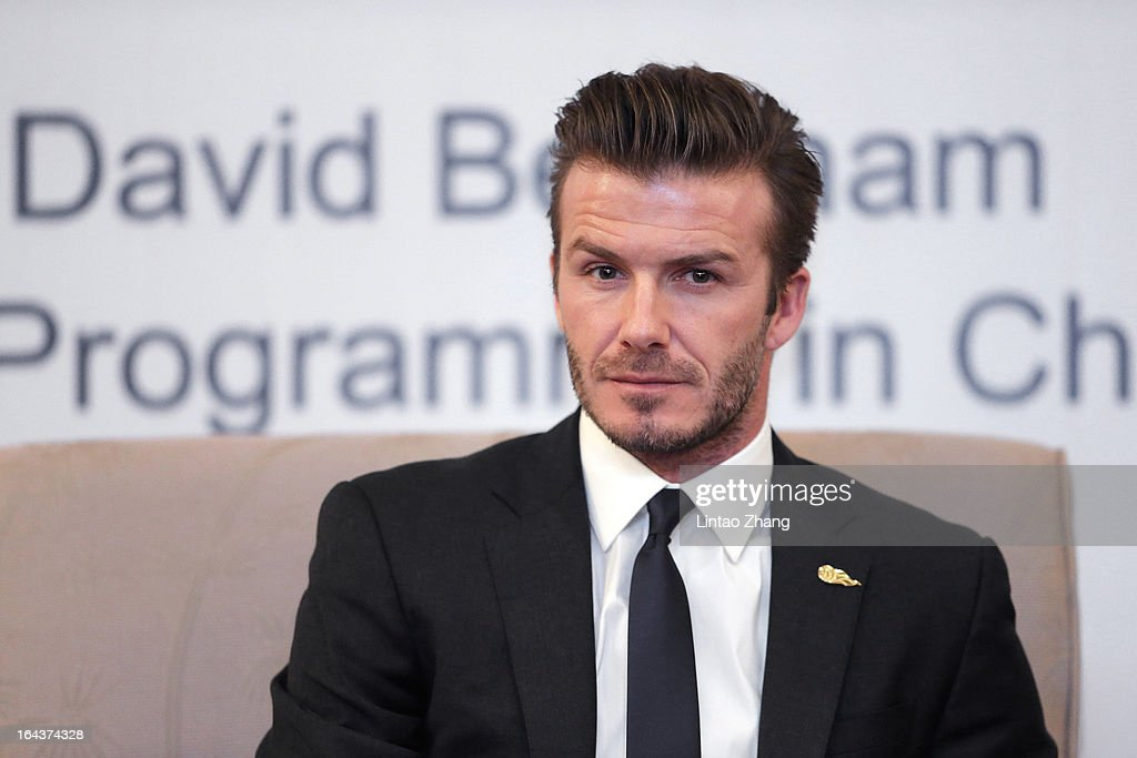 British football player David Beckham attends a press conference titled 'Ambassador for the Youth Football Programme in China and the Chinese Super League' at Wuhan Hubei Province on March 23, 2013 in Wuhan, China. David Beckham is on a five-day visit to China at the invitation of the China Football Association as China's first international ambassador.