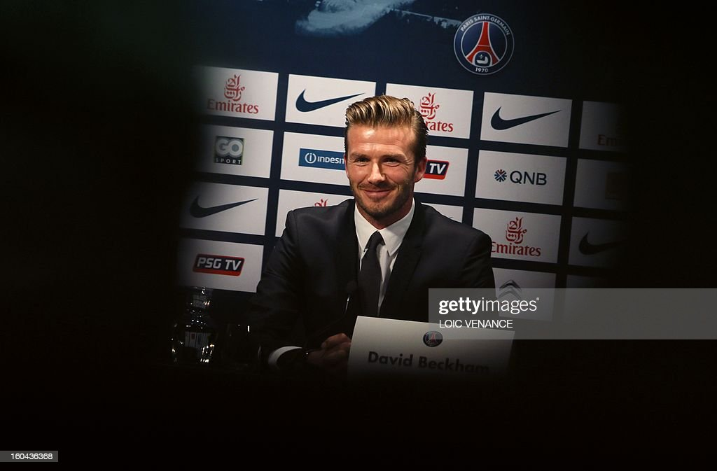 British football player David Beckham gives a press conference on January 31, 2013 at the Parc des Princes stadium in Paris. Beckham signed a five-month deal with the French Ligue 1 football club Paris Saint Germain until the end of June. AFP PHOTO / LOIC VENANCE