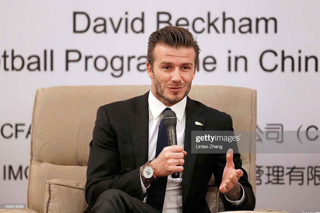 British football player David Beckham speak during a press conference titled 'Ambassador for the Youth Football Programme in China and the Chinese Super League' at Wuhan Hubei Province on March 23, 2013 in Wuhan, China. David Beckham is on a five-day visit to China at the invitation of the China Football Association as China's first international ambassador.