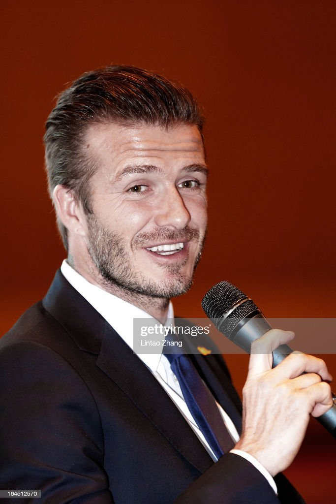 British football player <a gi-track='captionPersonalityLinkClicked' href=/galleries/search?phrase=David+Beckham&family=editorial&specificpeople=158480 ng-click='$event.stopPropagation()'>David Beckham</a> speaks as he meets fans at China World Trade Center Tower 3 on March 24, 2013 in Beijing, China. <a gi-track='captionPersonalityLinkClicked' href=/galleries/search?phrase=David+Beckham&family=editorial&specificpeople=158480 ng-click='$event.stopPropagation()'>David Beckham</a> is on a five-day visit to China at the invitation of the China Football Association as China's first international ambassador.