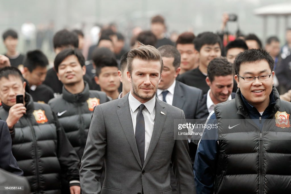 British football player <a gi-track='captionPersonalityLinkClicked' href=/galleries/search?phrase=David+Beckham&family=editorial&specificpeople=158480 ng-click='$event.stopPropagation()'>David Beckham</a> visits Wuhan Zall Football Club at Wuhan Hubei Province on March 23, 2013 in Wuhan, China. Beckham is on a five-day visit to China at the invitation of the China Football Association as China's first international ambassador.