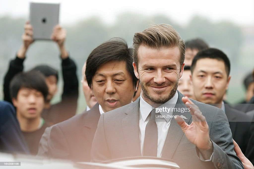 British football player David Beckham visits Wuhan Zall Football Club at Wuhan Hubei Province on March 23, 2013 in Wuhan, China. Beckham is on a five-day visit to China at the invitation of the China Football Association as China's first international ambassador.