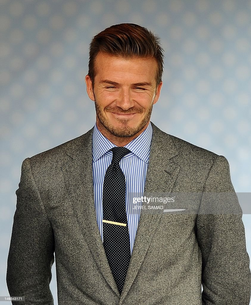 British footballer David Beckham attends US First Lady Michelle Obama's 'Let's Move-London' event at the Winfield House in London on July 27, 2012, hours before the official start of the London 2012 Olympic Games.
