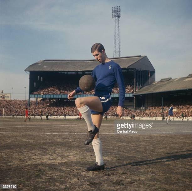 British footballer Peter Osgood of Chelsea Football Club practises his close control before a match