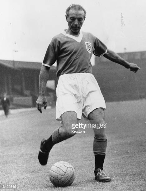 British footballer Stanley Matthews playing for Blackpool