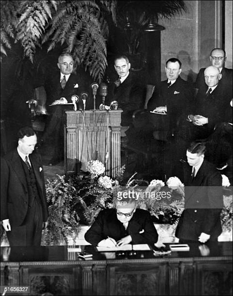 British foreign affairs minister Ernest Bevin signs 04 April 1949 the North Atlantic treaty during an official ceremony in Washington creating the...