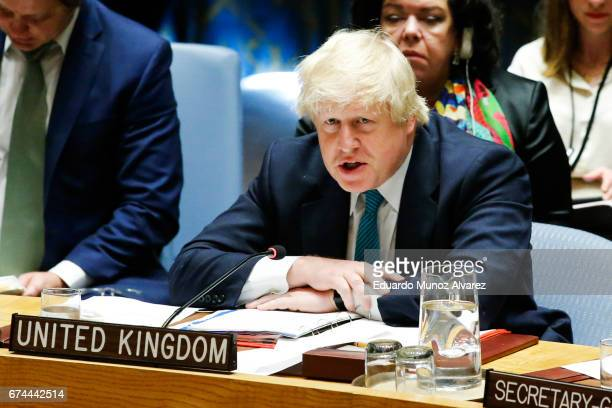 British Foreign Minister Boris Johnson speaks to members of the security council during a meeting on nonproliferation of North Korea at United...