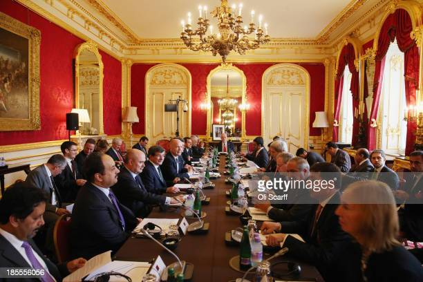 British foreign minister William Hague conducts a meeting of the 'London 11' from the Friends of Syria Core Group attended by US Secretary of State...