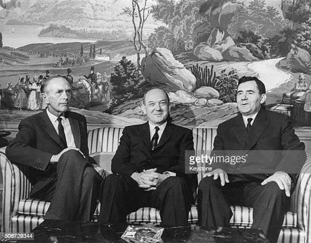 British Foreign Secretary Alec DouglasHome with his US counterpart Dean Rusk and Andrei Gromyko of Russia pictured during a meeting in Washington DC...