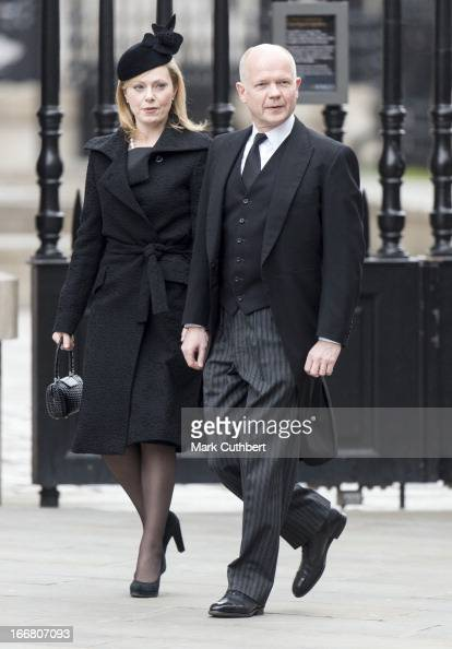 British Foreign Secretary and First Secretary of State William Hague and Ffion Hague arrive at StPaul's Cathedral on April 17 2013 in London England...