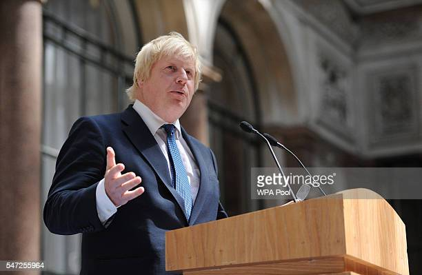 British Foreign Secretary Boris Johnson addresses staff inside the Foreign Office on his first day as one of Prime Minister Theresa May's cabinet on...