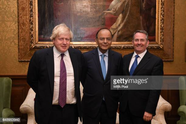 British Foreign Secretary Boris Johnson and and British International Trade Secretary Liam Fox meet India's Minister of Finance Arun Jaitley at the...