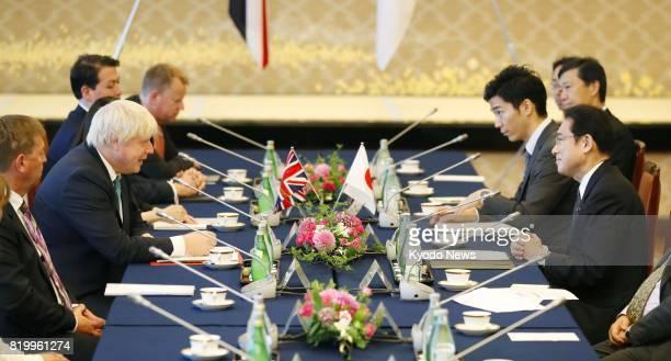 British Foreign Secretary Boris Johnson and his Japanese counterpart Fumio Kishida hold talks in Tokyo on July 21 on issues led by North Korea's...