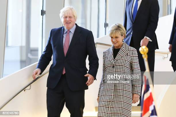 British Foreign Secretary Boris Johnson and Minister for Foreign Affairs Julie Bishop walk prior to AUKMIN 2017 on July 27 2017 in Sydney Australia...