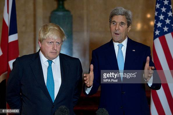 British Foreign Secretary Boris Johnson and US Secretary of State John Kerry give a joint press conference after a meeting on the situation in Syria...