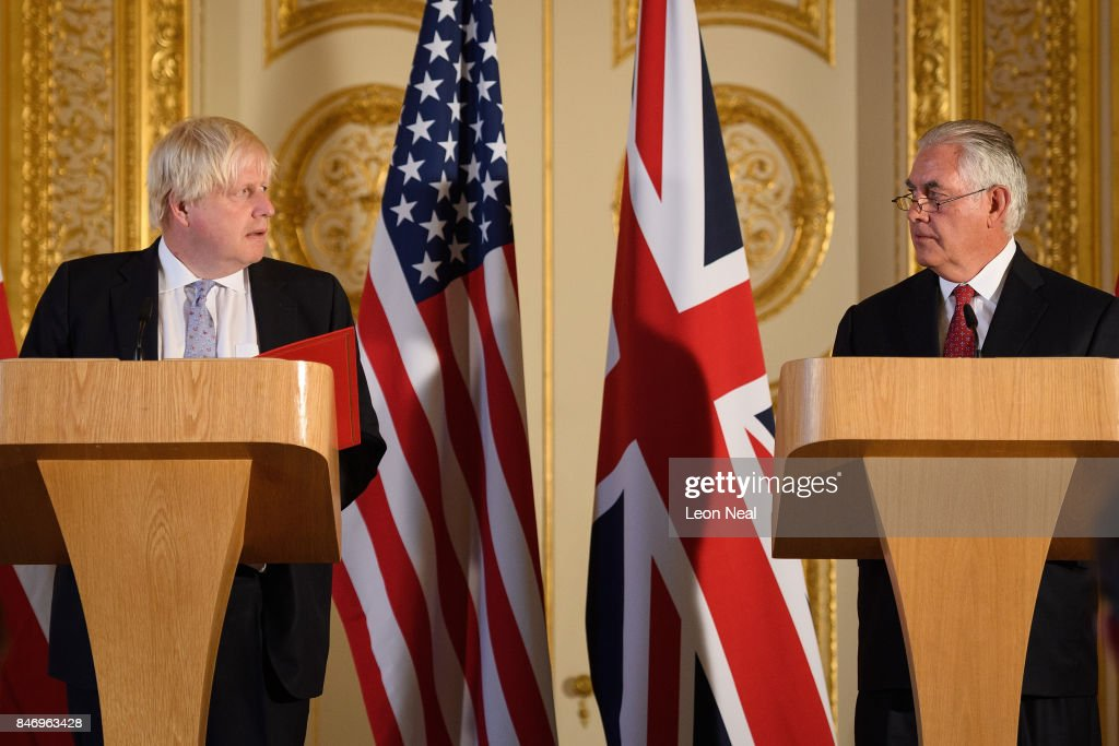 British Foreign Secretary Boris Johnson (L) and US Secretary of State Rex Tillerson speak at a press conference in Lancaster House following a meeting on September 14, 2017 in London, England. The US Secretary of State is in London for a special summit hosted by British Foreign Secretary Boris Johnson to discuss North Korea and Libya.