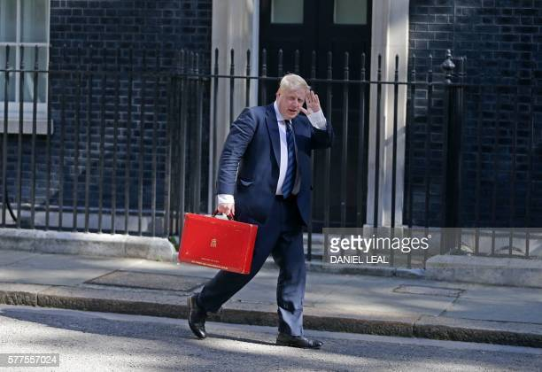 TOPSHOT British Foreign Secretary Boris Johnson arrives at 10 Downing Street in London on July 19 as he prepares to attend Prime Minister Theresa...