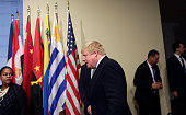 British Foreign Secretary Boris Johnson arrives to a press conference in the Security Council Stakeout area of the United Nations Headquarters after...
