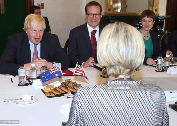 British Foreign Secretary Boris Johnson attends a bilateral meeting with Australian Foreign Minister Julie Bishop in Sydney on July 26 2017 Johnson...