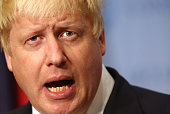 British Foreign Secretary Boris Johnson gives a press conference in the Security Council Stakeout area of the United Nations Headquarters after...