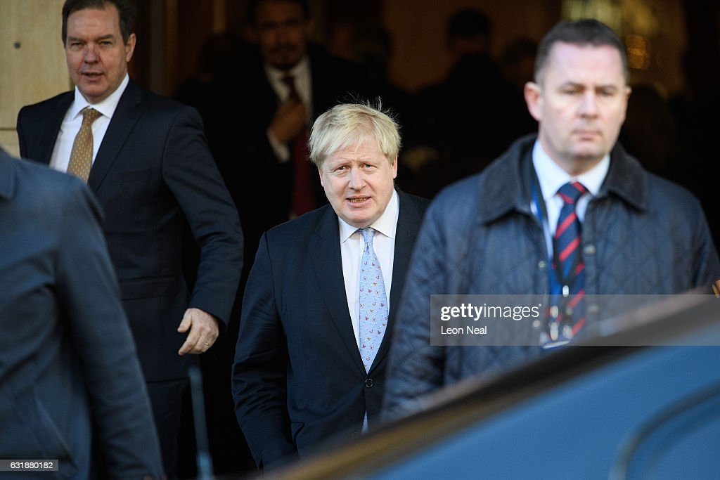 British Foreign Secretary Boris Johnson leaves after listening to British Prime Minister Theresa May's keynote speech on Brexit at Lancaster House on January 17, 2017 in London, England. In the speech, she announced that the UK is to leave the single market.