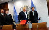 British Foreign Secretary Boris Johnson meets with United Nations SecretaryGeneral Ban KiMoon at the United Nations Headquarters in New York City on...