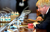 British Foreign Secretary Boris Johnson sits down to speak with United Nations SecretaryGeneral Ban KiMoon at the United Nations Headquarters in New...