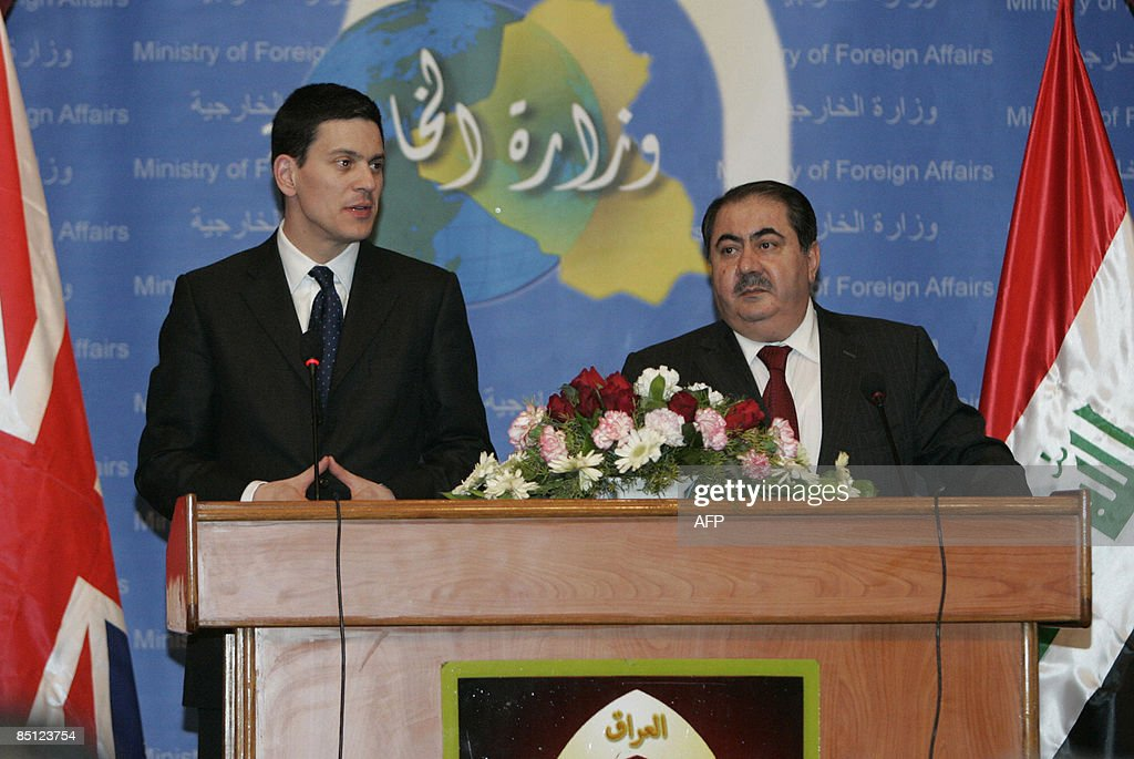 British Foreign Secretary David Miliband speaks during a joint press conference with his Iraqi counterpart Hoshyar Zebari in the headquarters of the...