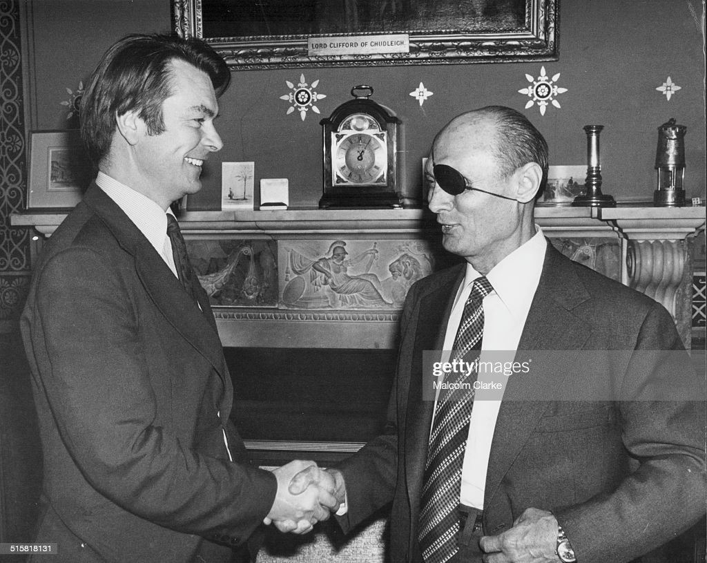 British Foreign Secretary David Owen shaking hands with Israeli Foreign Minister Moshe Dayan at the Foreign Office London May 8th 1978